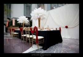 Harold Washington Library Wedding Backdrop Drape photo by Sprung Photo