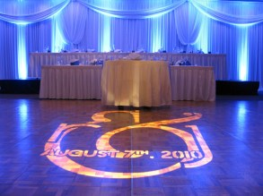 Custom monogram gobo and uplights