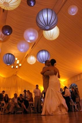 Hanging Lanterns at a Wedding