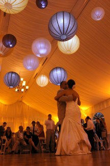 Hanging Lanterns at a Wedding