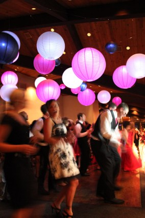 Pink white and black wedding lanterns