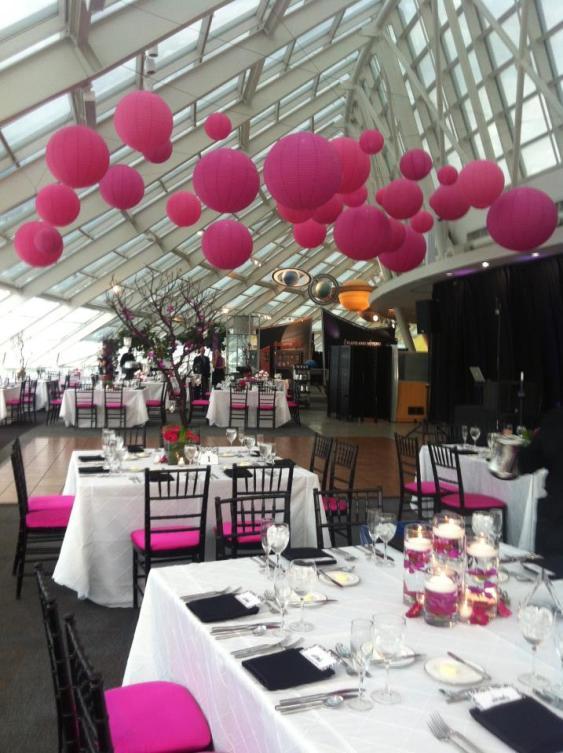 Lanterns for a wedding at Adler Planetarium