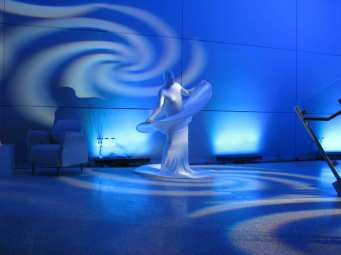 Event Lighting at Lewis University Science Center with Living Art Dancers