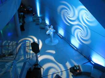 Event Lighting at Lewis University Science Building with Living Art Dancers