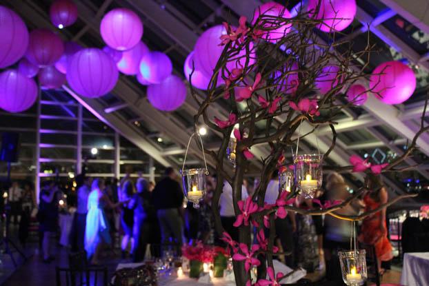 Hanging lanterns for a wedding at Adler Planetarium