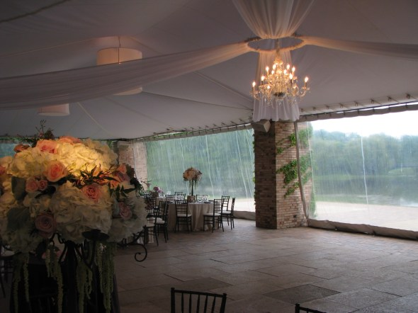 Chandelier and Drape at Chicago Botanic Gardens Wedding