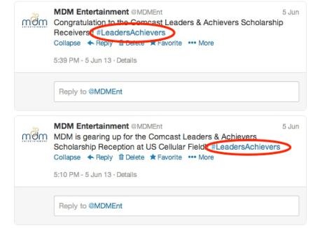 MDM hashtag examples