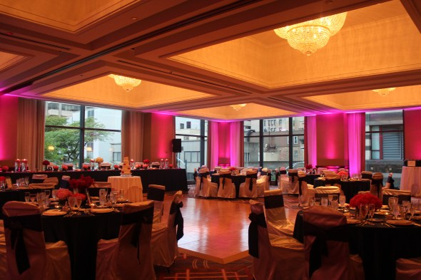 The Omni Chicago Hotel Wedding with pink uplights