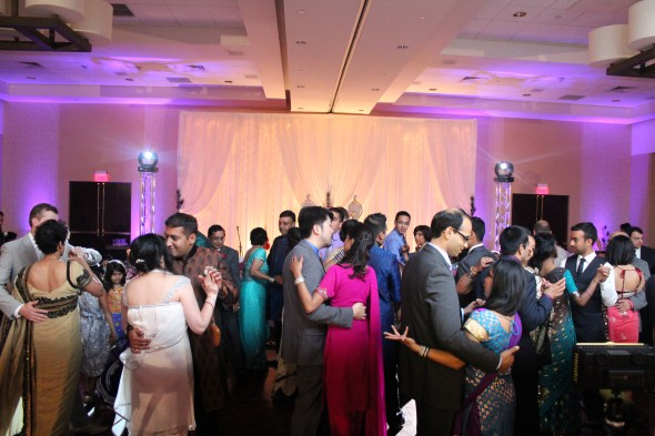 Dance Floor with lightings at the Marriott Schaumburg Wedding