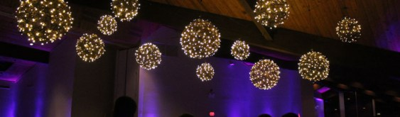 Hanging Grapevine Balls at White Pines Golf Club Wedding