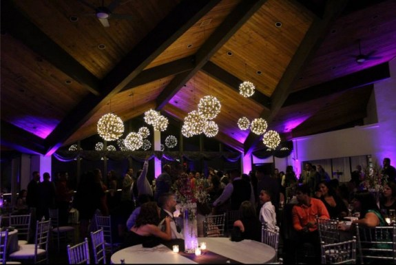 White Pines Golf Club Wedding with Chicago Wedding Lighting Grape Vine Balls