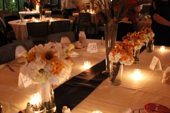 Orange White and Brown Colors at the Cantigny Park Wedding