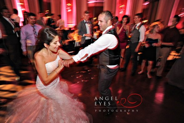 Bride and Groom dancing at Newberry Library Wedding