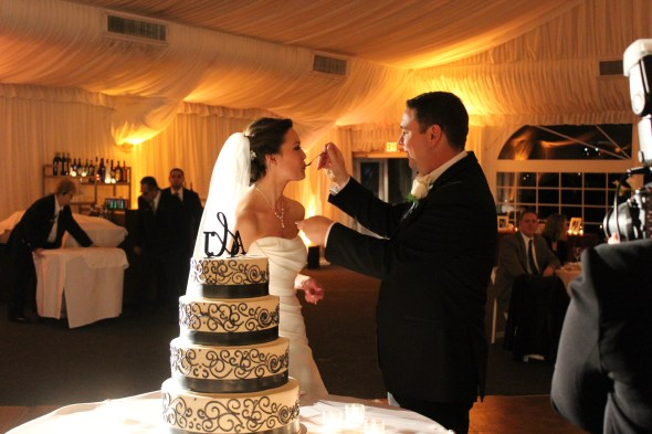 Cake cutting at the Westin Itasca Wedding
