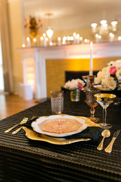Chanel inspired wedding place setting
