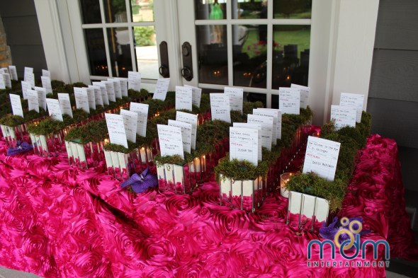 Library themed place cards at backyard wedding