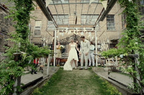 Salvage One Wedding in Courtyard