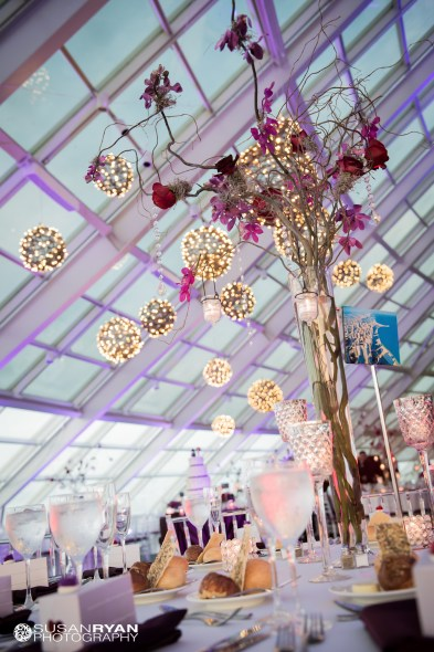 Grapevine Chandeliers and Branch Centerpiece at Adler Wedding