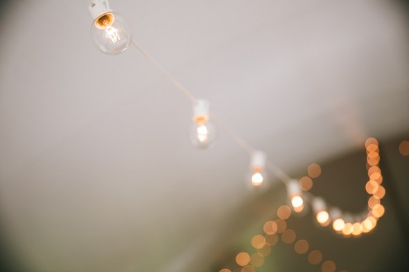 Wedding string lights over dance floor