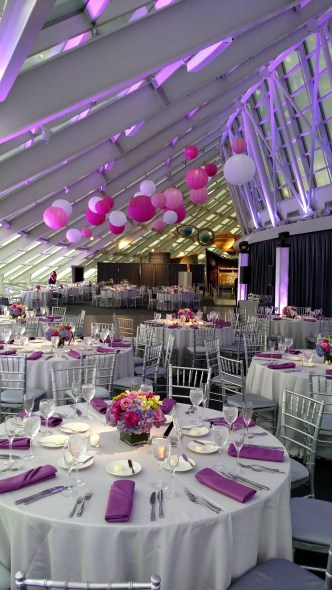 Fuschsia Uplighting and Lanterns at an Adler Planetarium wedding