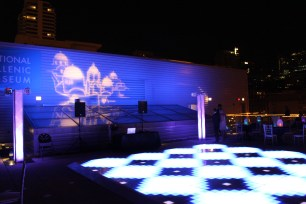 National Hellenic Museum Wedding Rooftop Afterparty Lighting with LED Dance Floor