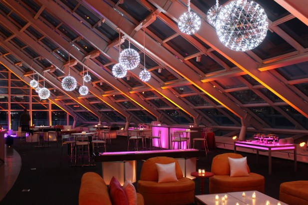 Silver Pendant Chandeliers, Uplighting, LED Games and Lounge Furniture for an Adler Planetarium Corporate Event
