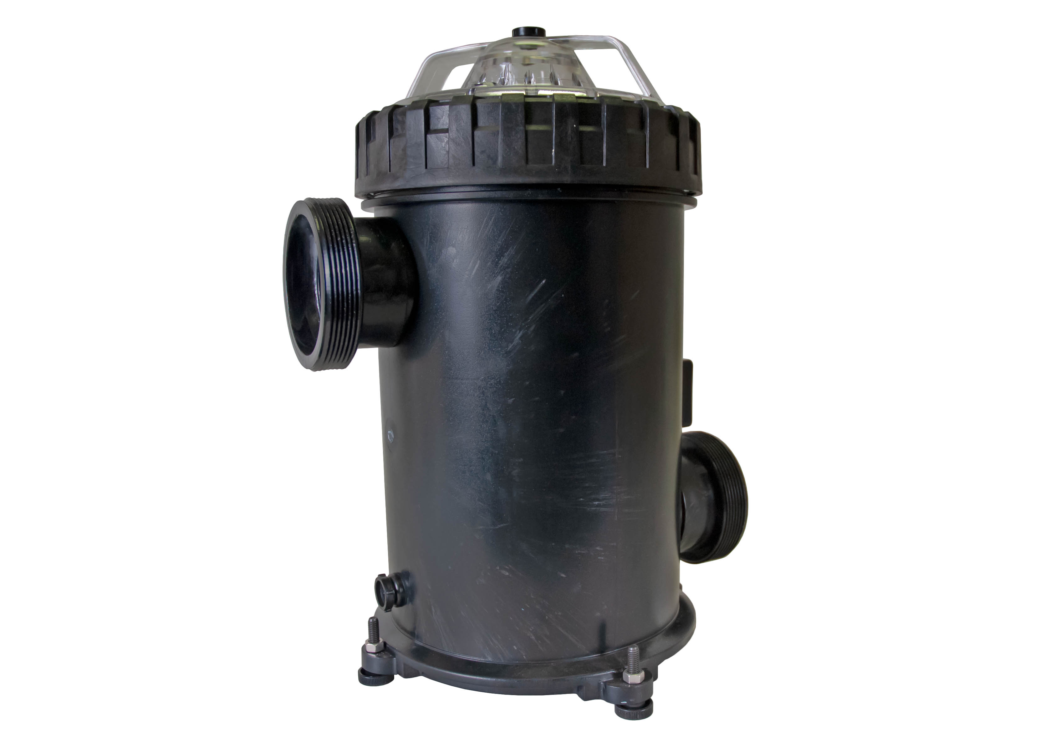 500 cubic liter Strainer Basket with 3 inch ports right angle view