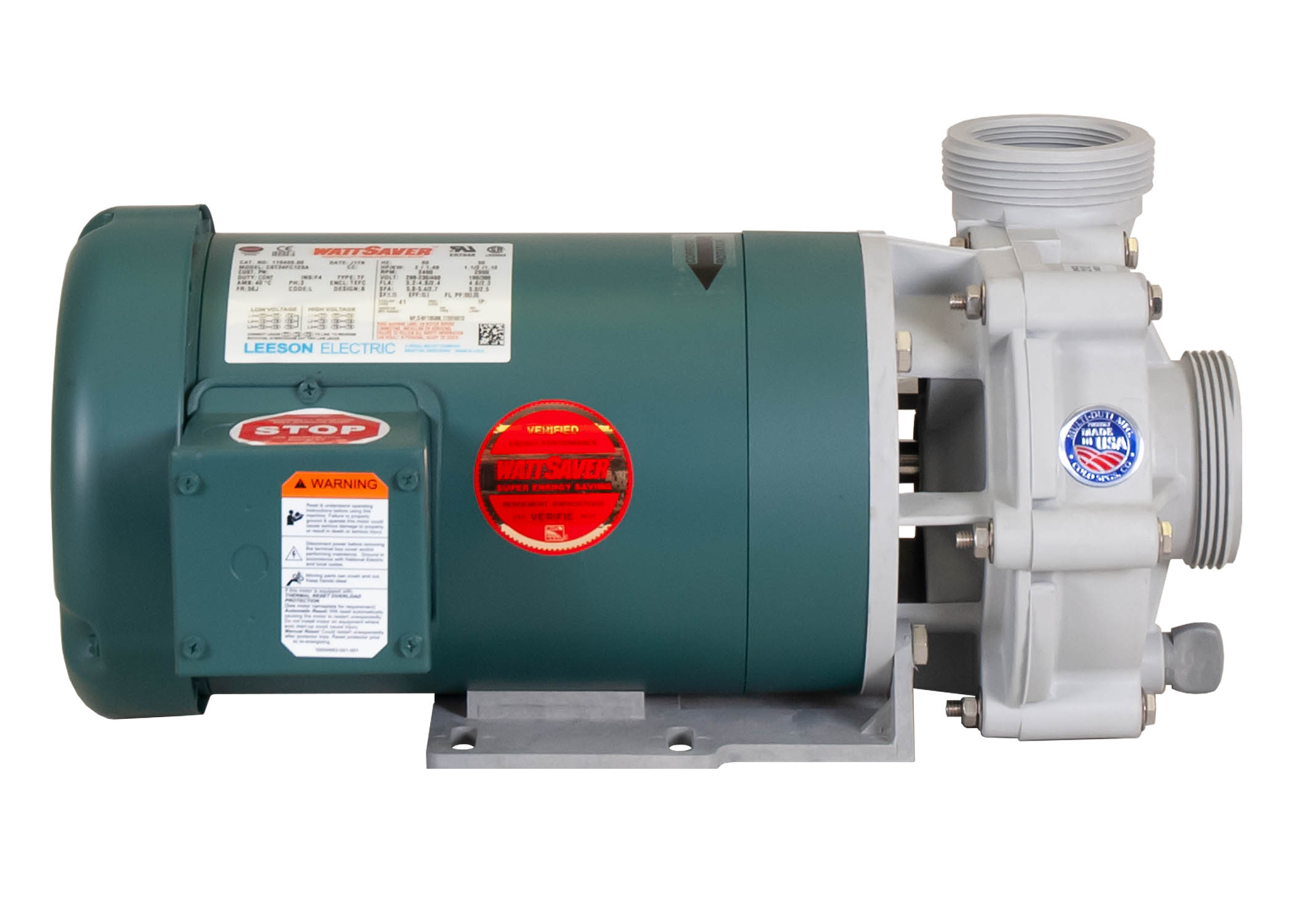 Advance 4000 Pump with green Leeson Motor left side view