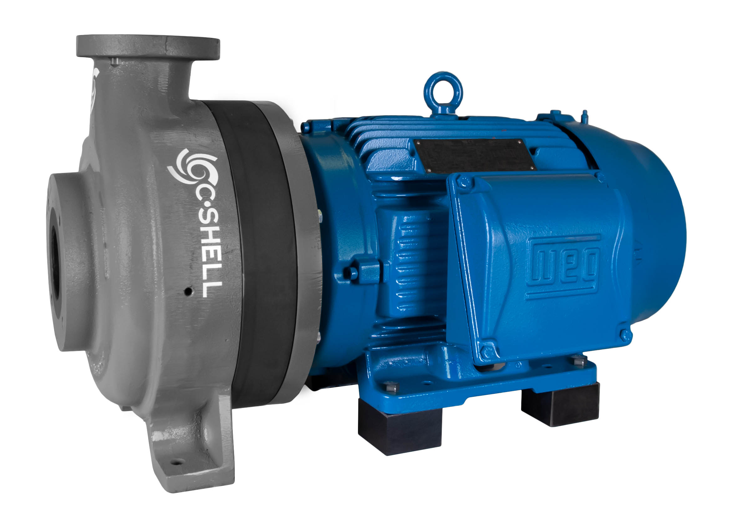 C-Shell 3x2-10 Pump with blue WEG Motor right angle view