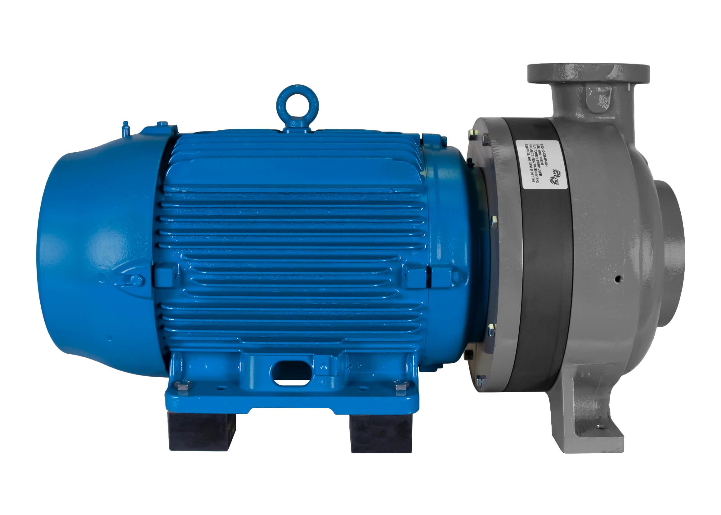 C-Shell 3x2-10 Pump with blue WEG Motor left side view