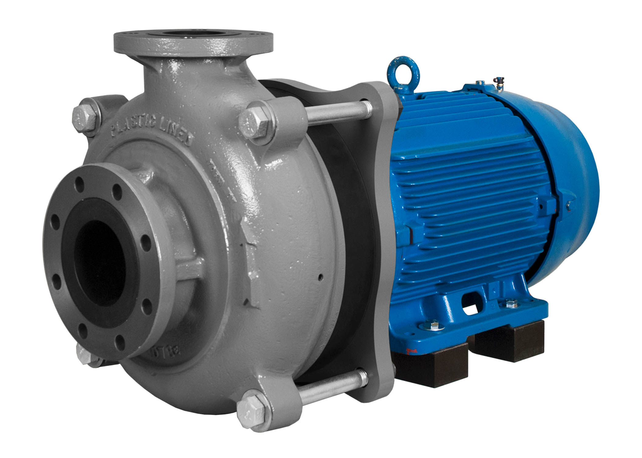 C-Shell 4x3-10 Pump with blue WEG Motor right angle view