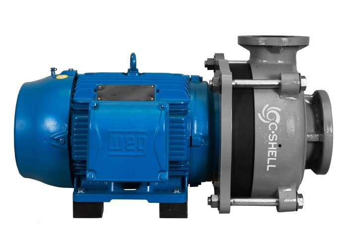 C-Shell 4x3-10 Pump with blue WEG Motor left side view