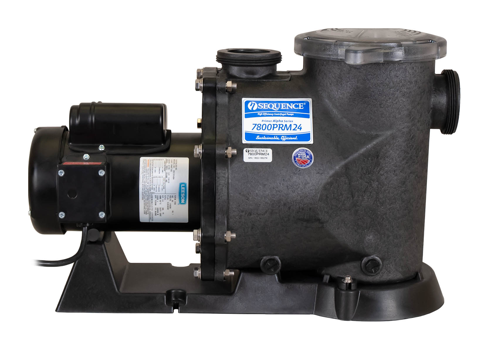 Sequence Primer Alpha Pump with black Leeson Motor left side view