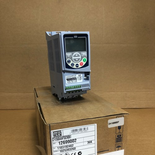WEG VFD - 1.5hp, 200-240v, 1 or 3phase, 4.3A, NEMA-1X side angle view