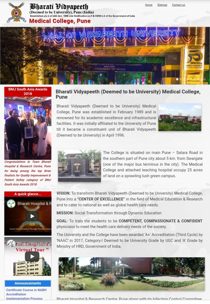 MBBS Admission in Bharati Vidhyapeeth medical college Pune