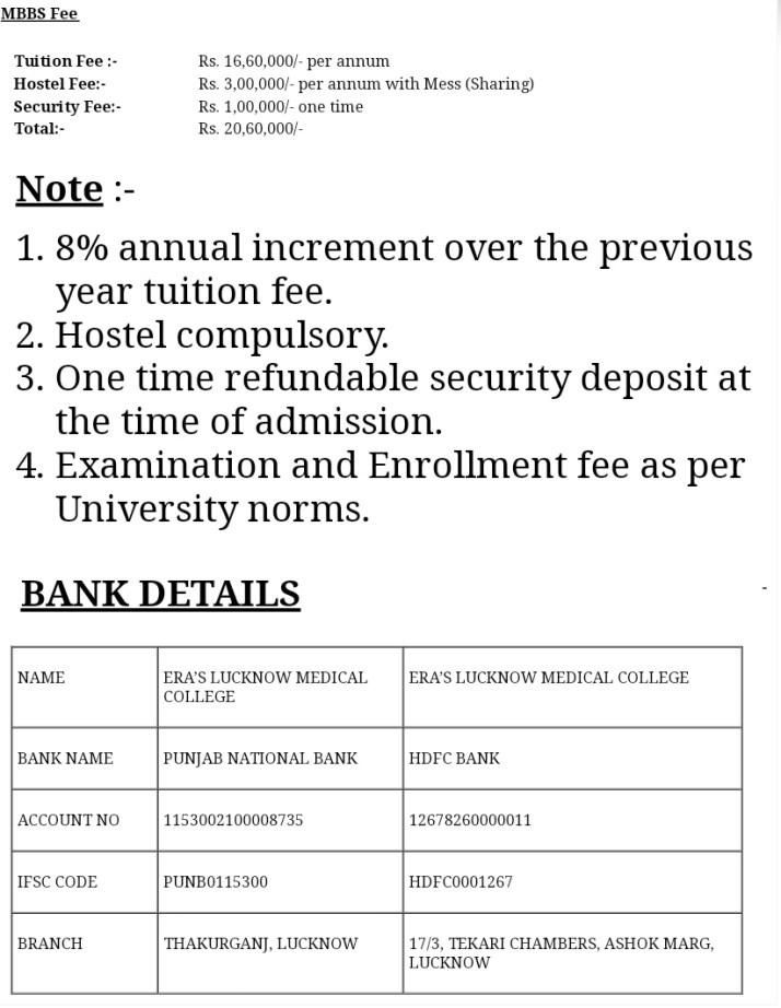 Era medical college fee structure