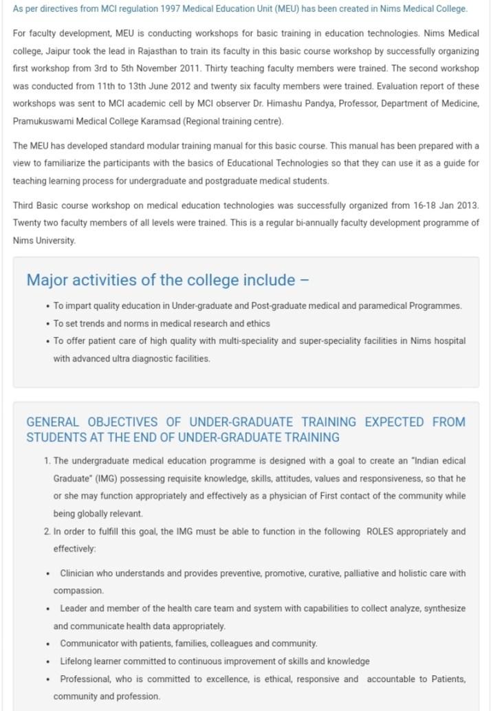 NIMS Medical College admission