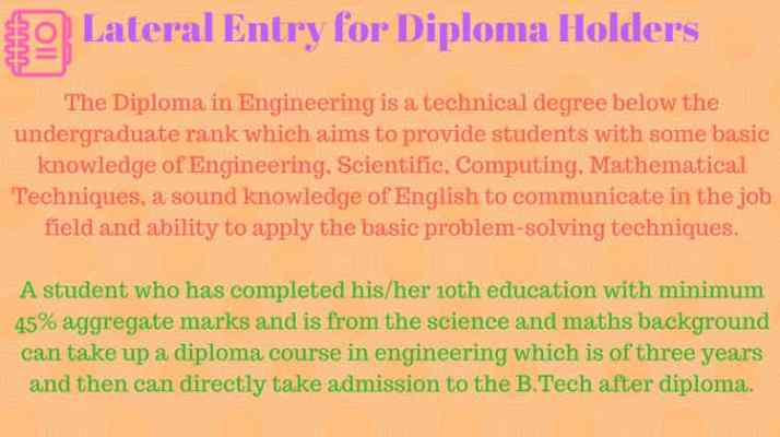 Eligibility Criteria for B.Tech Lateral Entry Admission in India