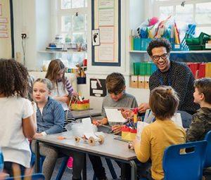 School children with teacher