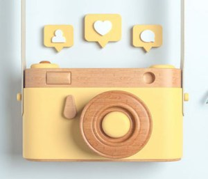 Illustration of camera with chat icons