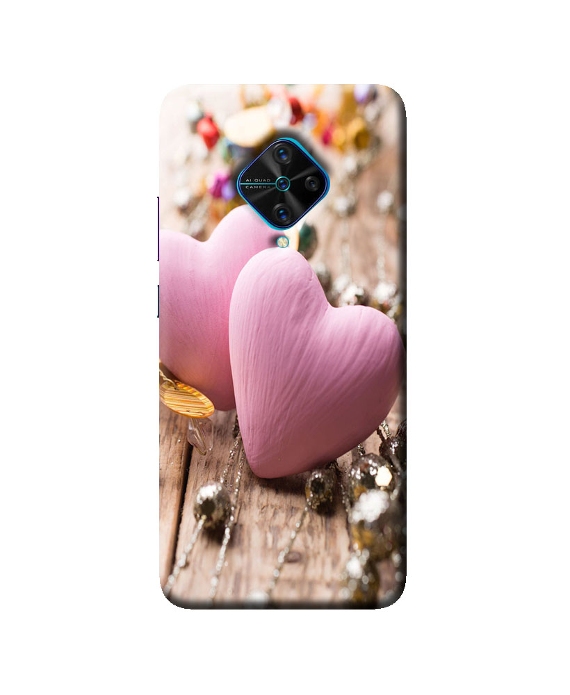 Vivo S1 Pro Mobile back cover (Pink heart)