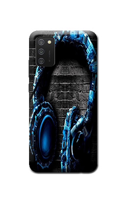 Samsung Galaxy M02s cover print headphone design for music lover