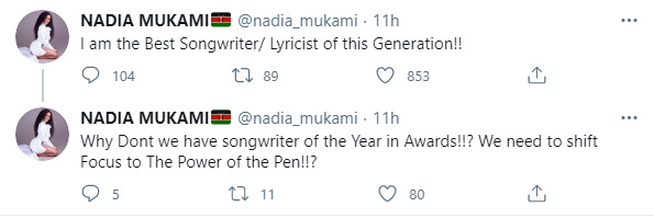 Nadia Mukami Causes A Stir After Claiming She's The Best Songwriter In Kenya