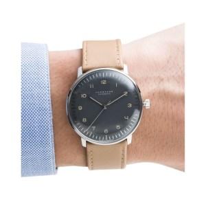 max bill automatique noire bracelet taupe 38mm junghans