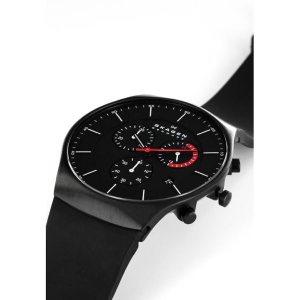 montre chronographe skagen noire bracelet silicone noir skw6075 skagen