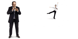 A Conservative Party election campaign poster shows Ed Miliband dancing to the tune of Alex Salmond