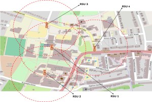 Figure 2: The Middlesex VANET Research Testbed at Hendon Campus, London