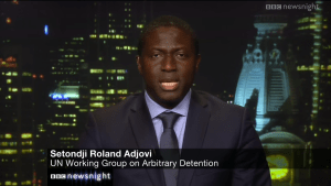 Second Vice-Chair of the Working Group on Arbitrary Detention Sètondji Roland Adjovi appearing on BBC's Newsnight