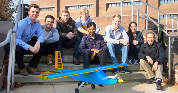 Students with aircraft