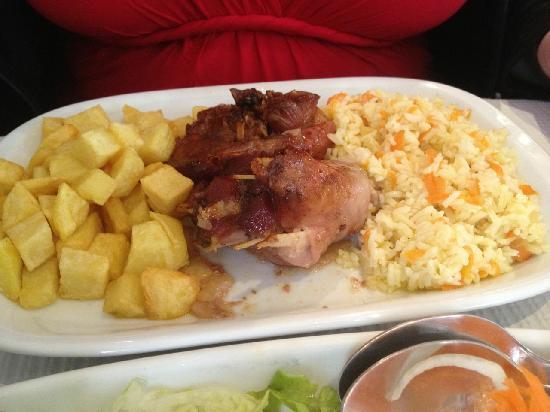 Γαλοπούλα με ρύζι και πατάτες